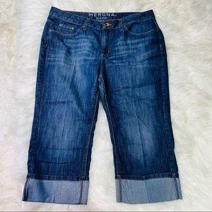 Merona Dark Wash Mid Rise Cuffed Capri Jeans - 16